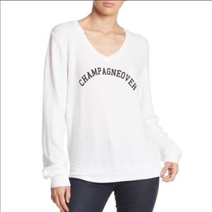 WILDFOX Champagneover V-Neck Knit Pullover Small